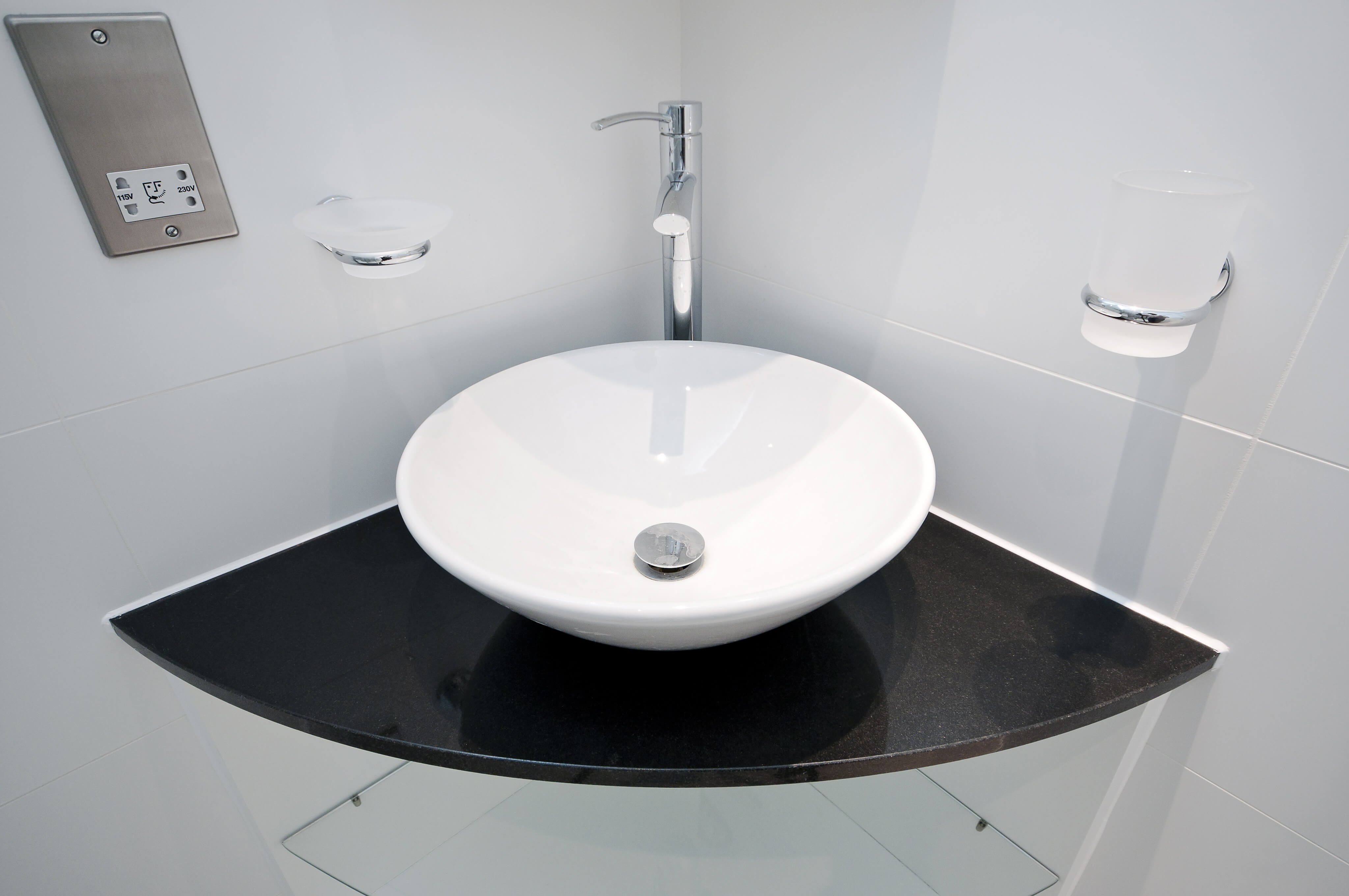 Bathroom corner glass shelf - Shutterstock_96410495