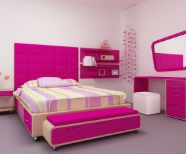 cute-purple-pink-bedroom-with-cream-and-purple-colors-bed-frames-and-tufted-headboard-also-combine-stripes-white-covered-bedding-sheets-feat-unique-shape-wall-mirror