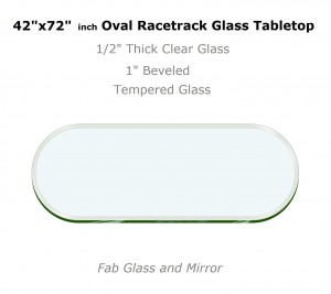 RaceTrack Oval Glass Table Tops