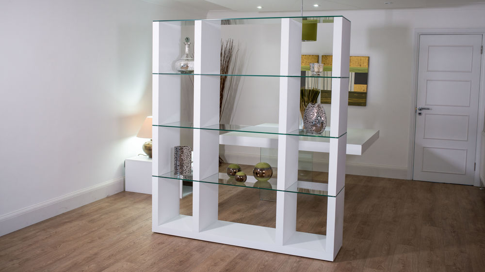 Aria Glass And White Oak Shelving Unit 6