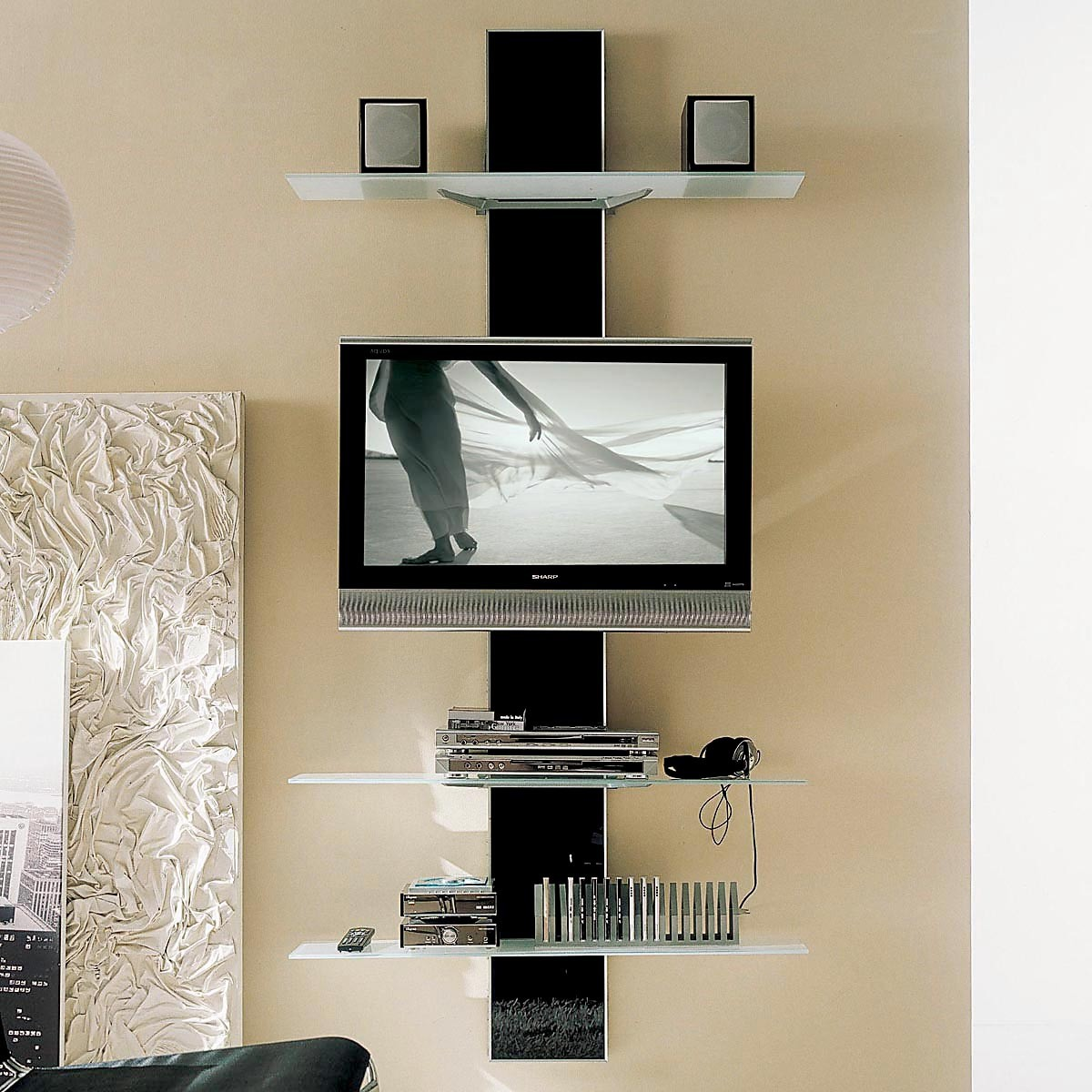 Glass Wall Mounted Open Media Shelves And Flat Screen Tv