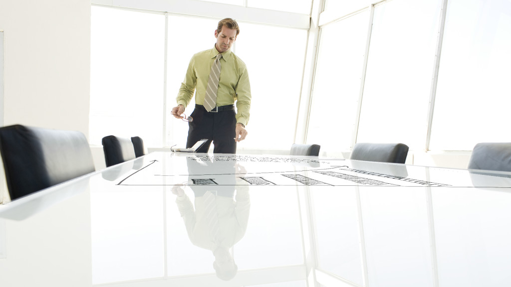 using glass board in meeting table