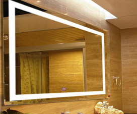 LED mirror an anti fog bathroom accessory