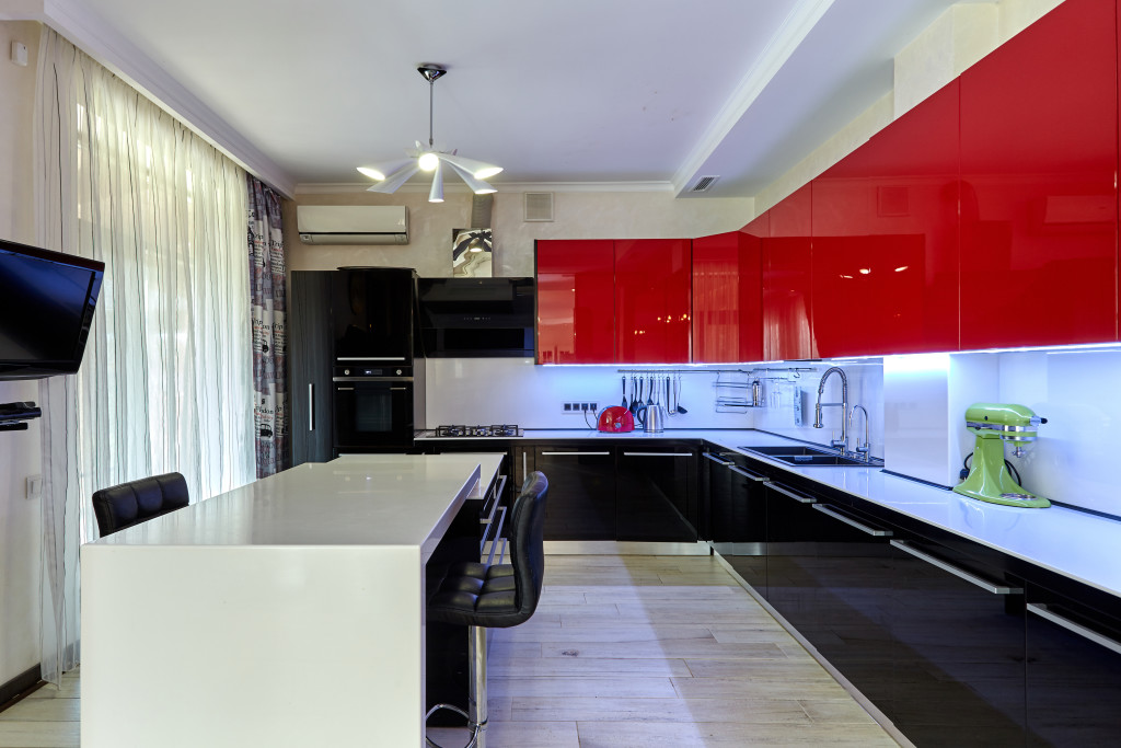 Laminated back painted glass for kitchen interior