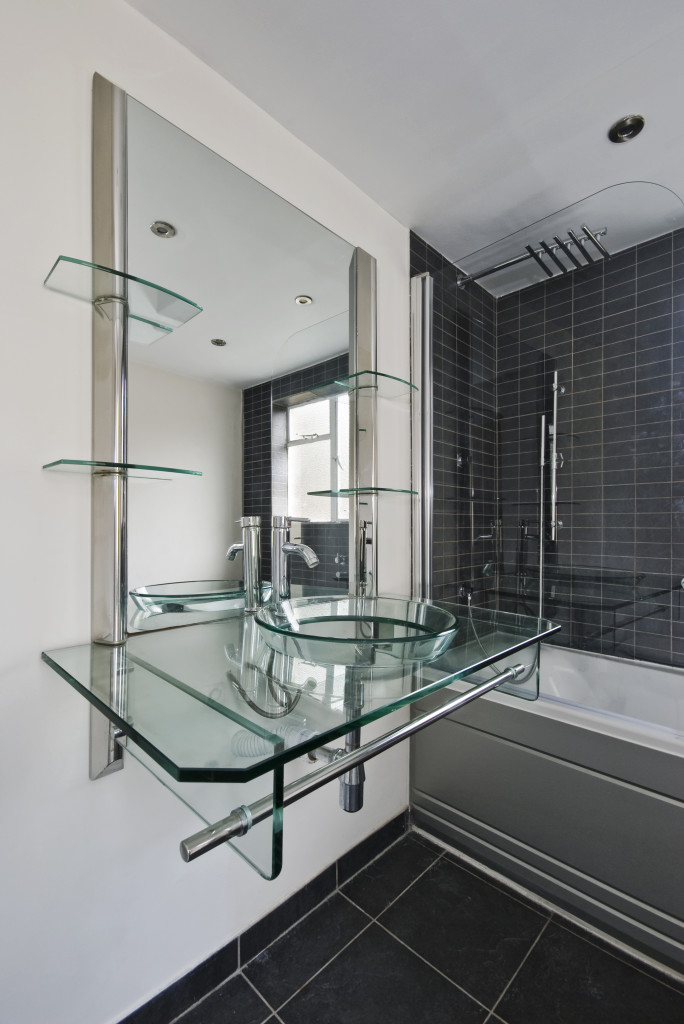 Built in wall glass shelves