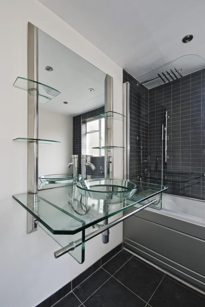 Built in glass shelves