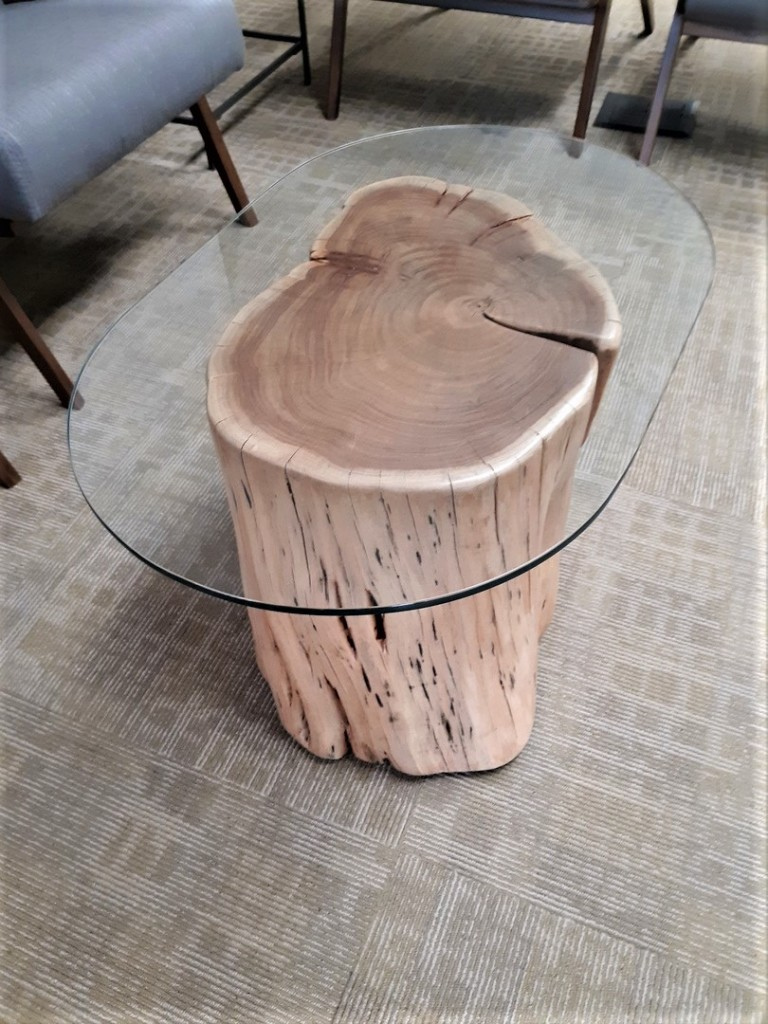 Table fusion of wood and glass