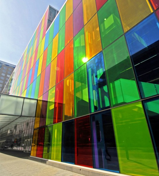 Colored glass for office exterior