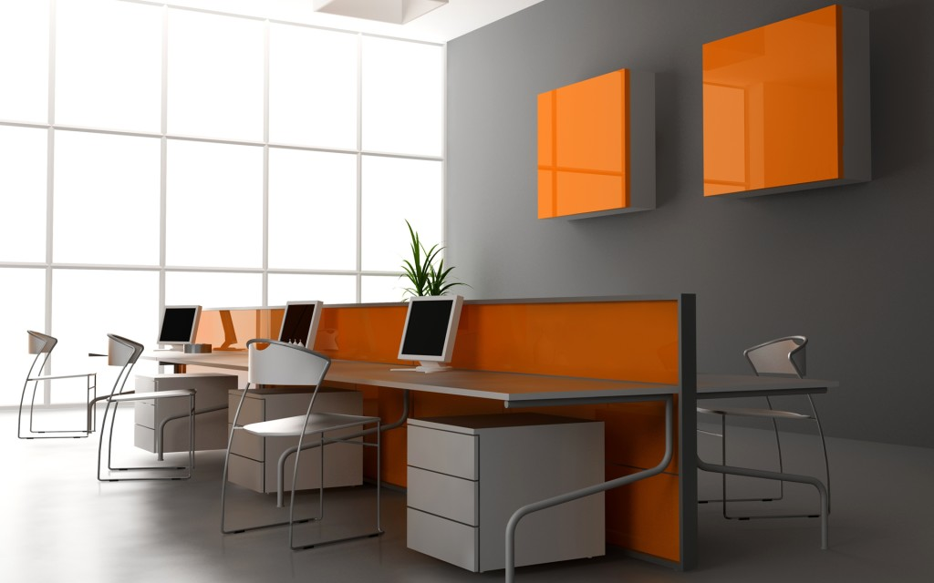 Colored glass office cabin divider
