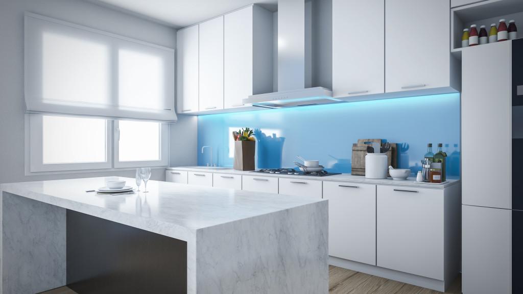 Modern kitchen with glass backsplash