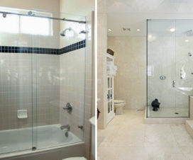 Shower glass enclosure for small and large bathroom spaces