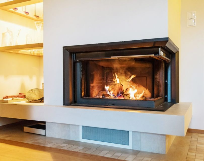 Beauty and Style with fireplace glass design