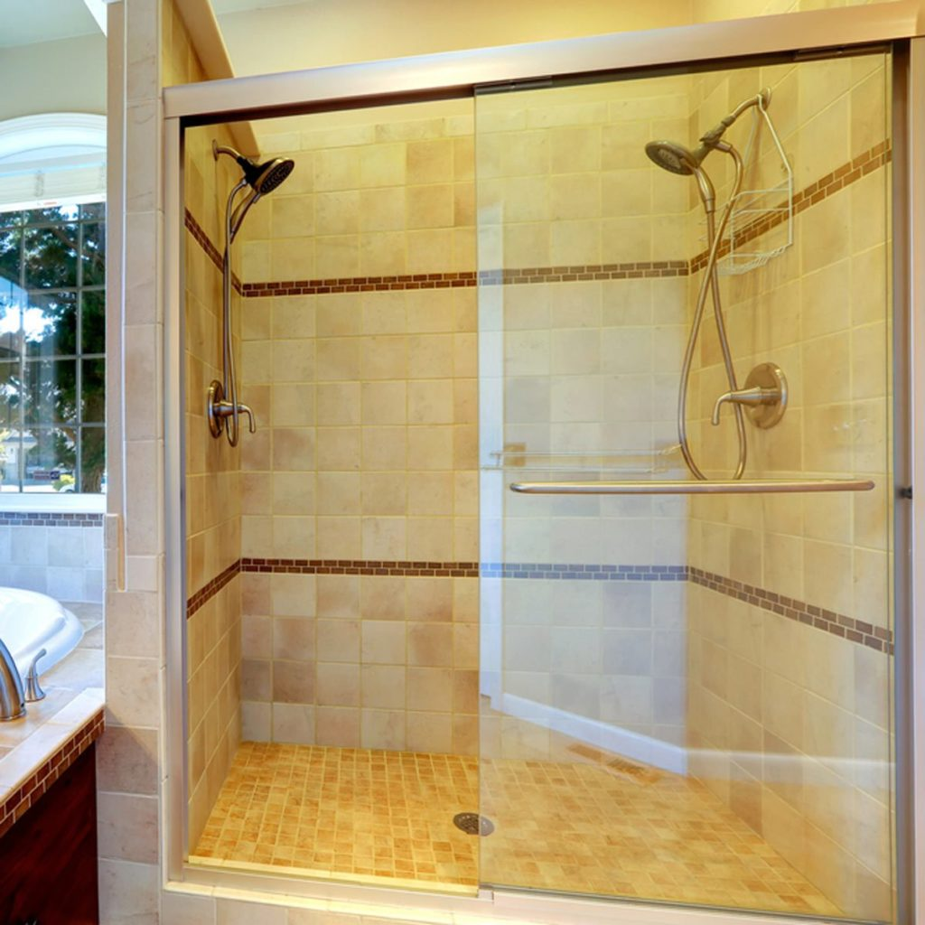 Shower unit with acrylic glass sheets