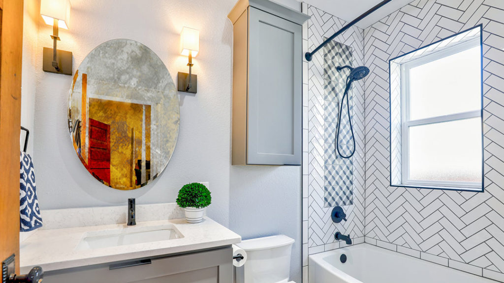 Chic, Informal Touch to your Bathroom Shelves with Small Mirrors