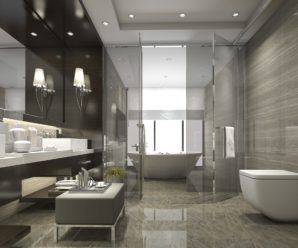 Acrylic glass sheets for modern bathroom interior