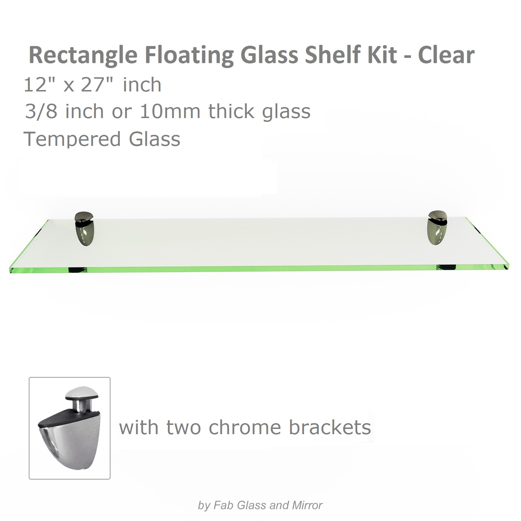 Fab Glass and Mirror Rectangle Floating Clear Glass Shelf Kit w ...