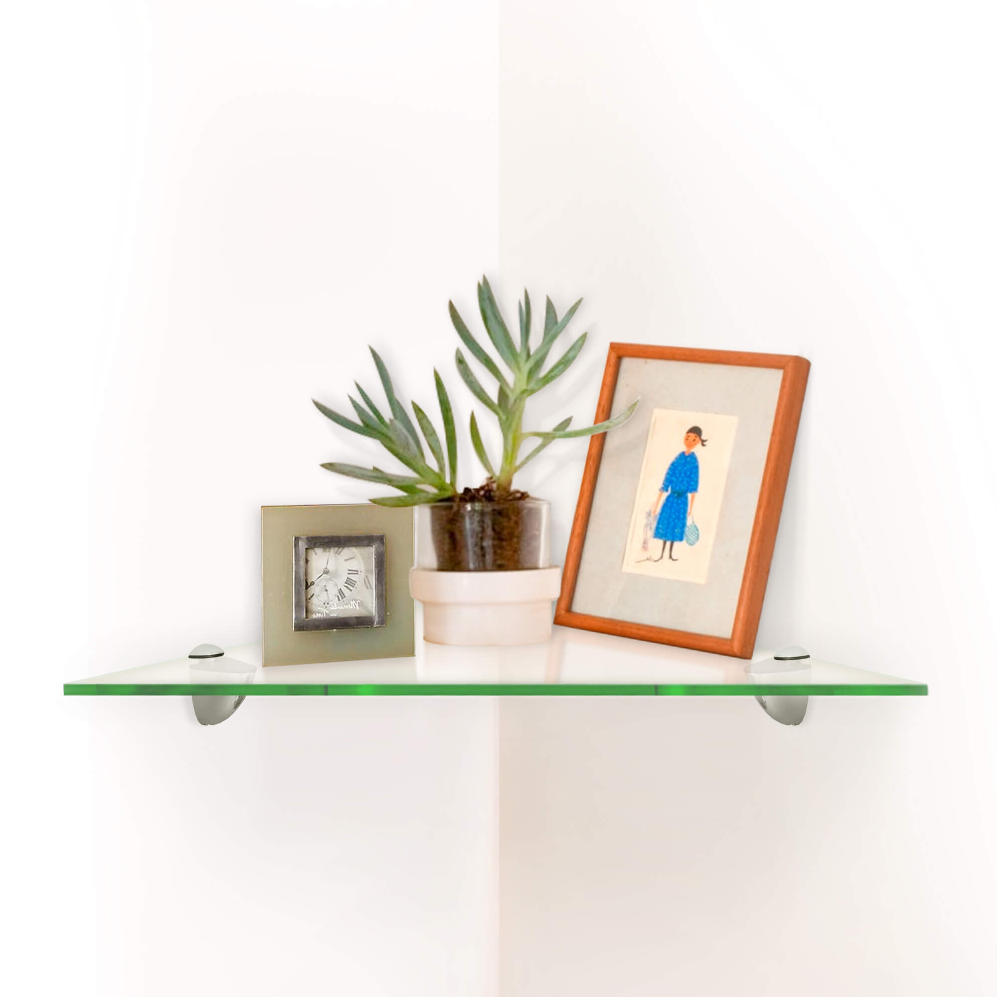 Fab Glass and Mirror Triangle Corner Clear Glass Shelf Kit With ...