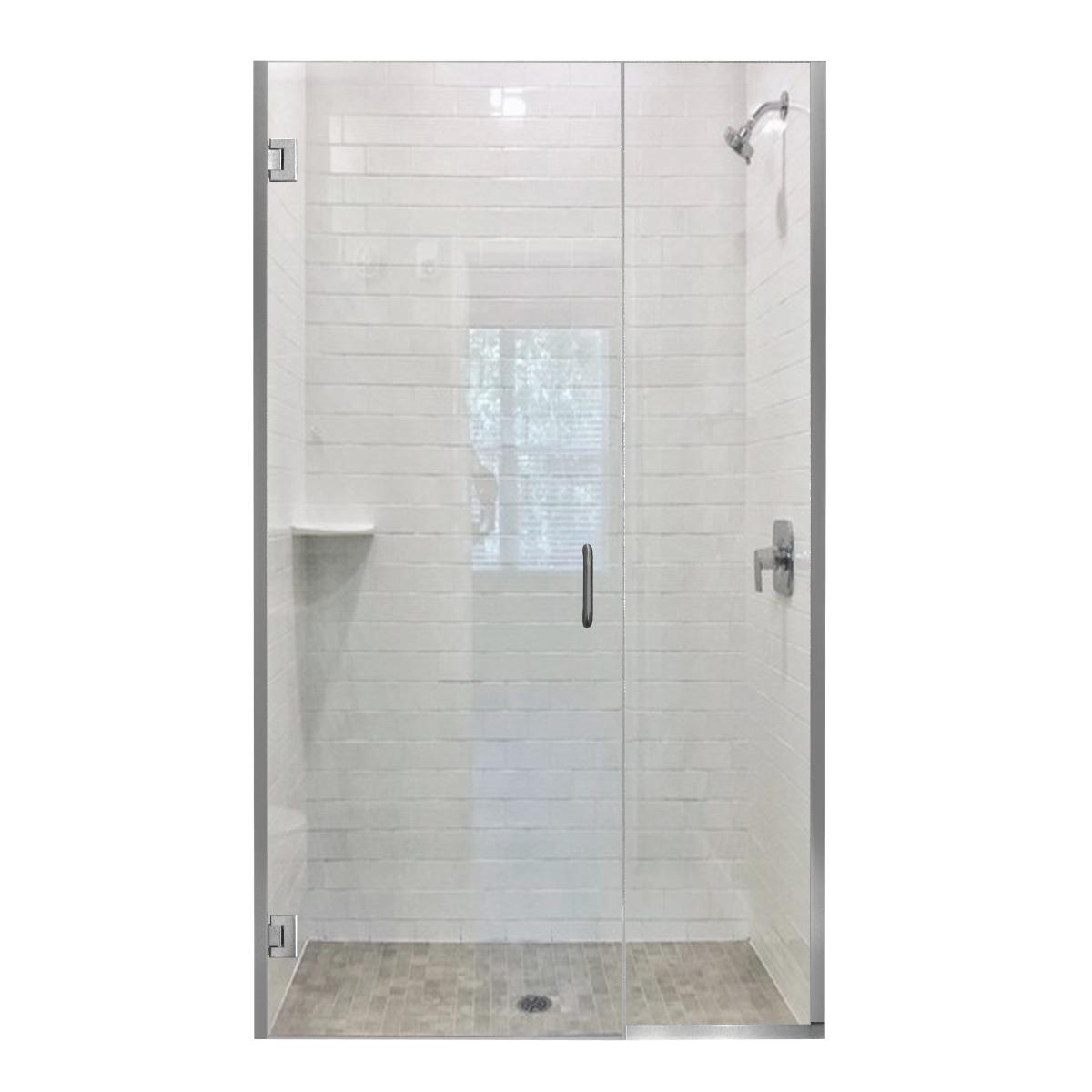 Frameless Swing Door With Inline Panel, Swinging Bathroom Doors