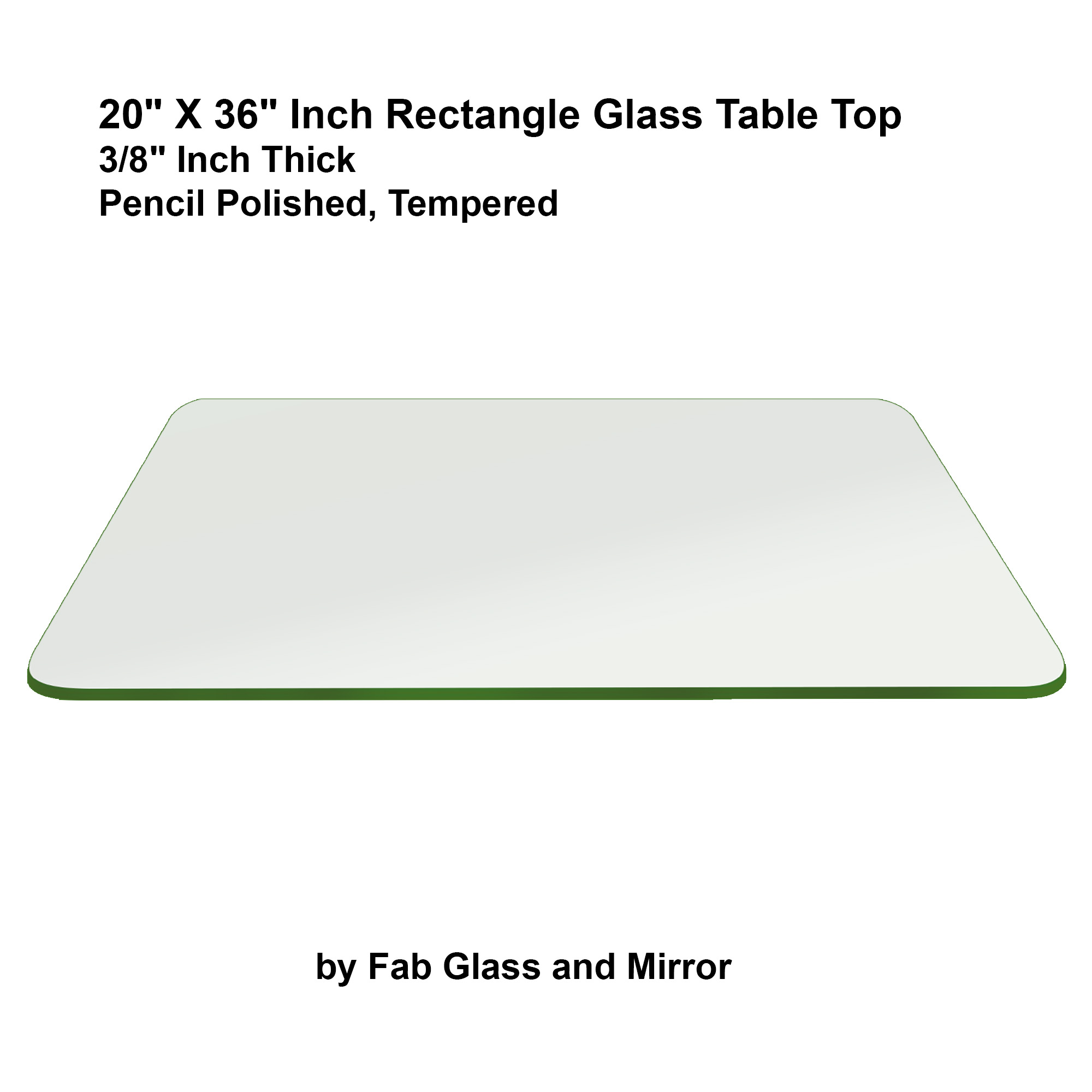 Fab glass and mirror rectangle clear glass table top w for 20 x 36 window