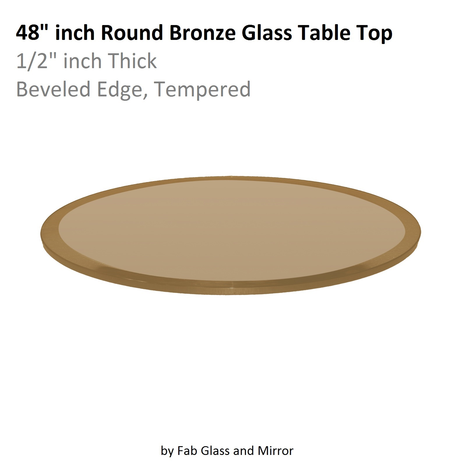 Fab Glass And Mirror Bronze Beveled Round Glass
