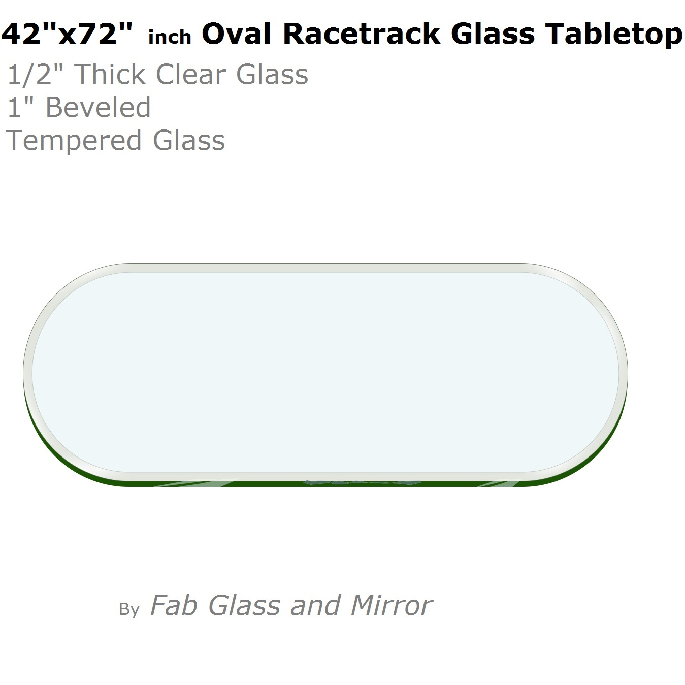 Oval Racetrack Glass Table Top 1 2 034