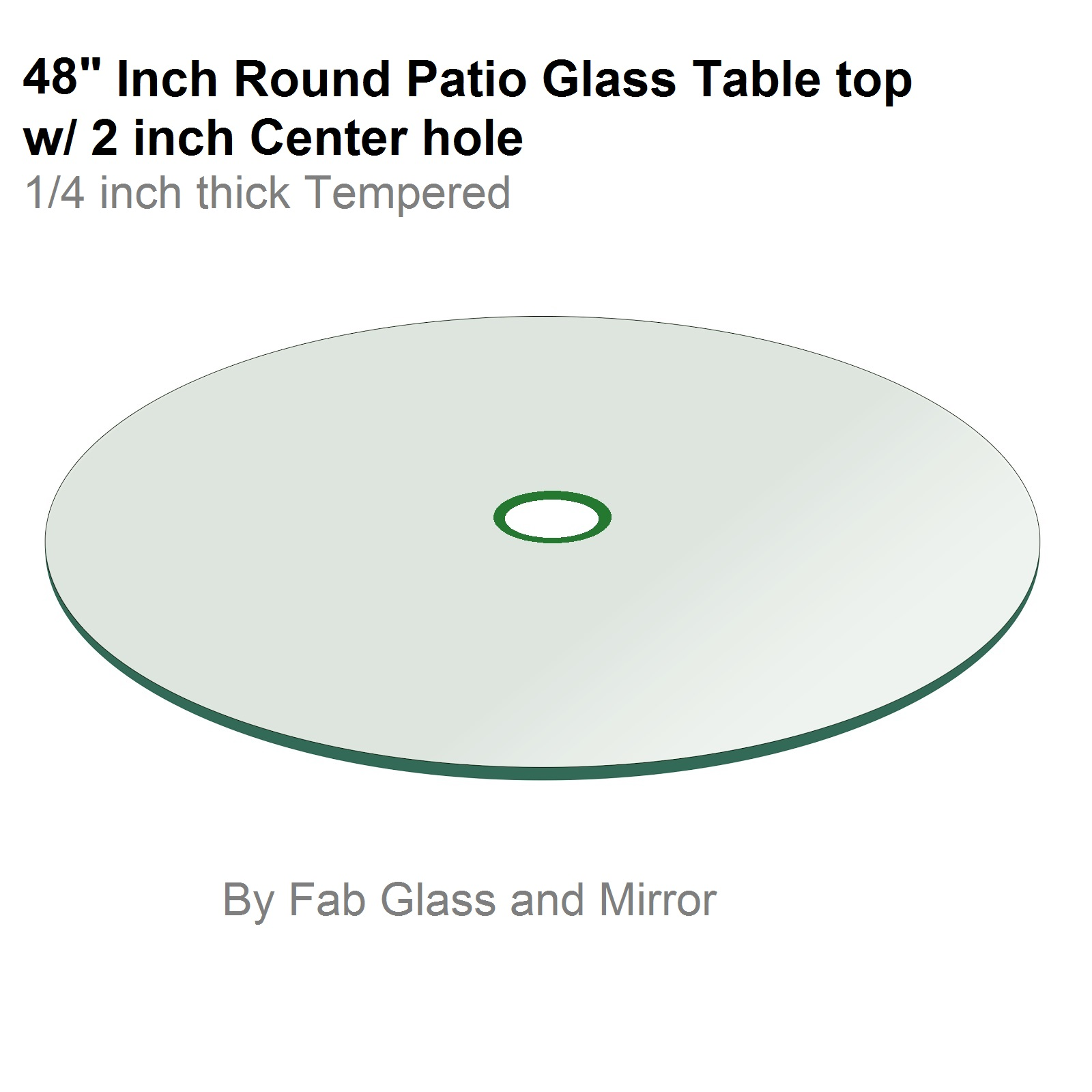 "48"" Round 1 4"" Thick Flat Tempered Patio Table with 2"