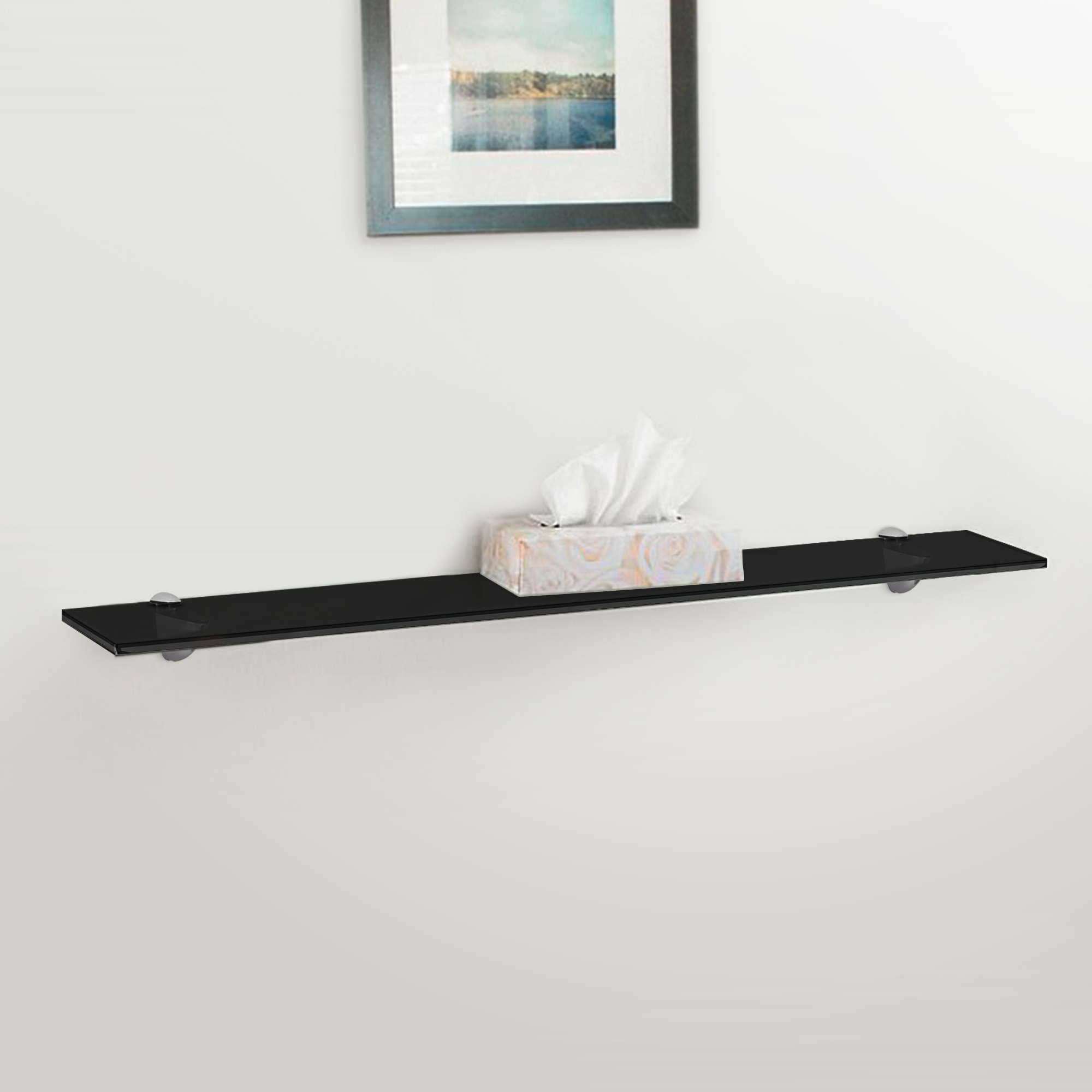 Fab Glass and Mirror Rectangle Floating Black Glass Shelf Kit w ...