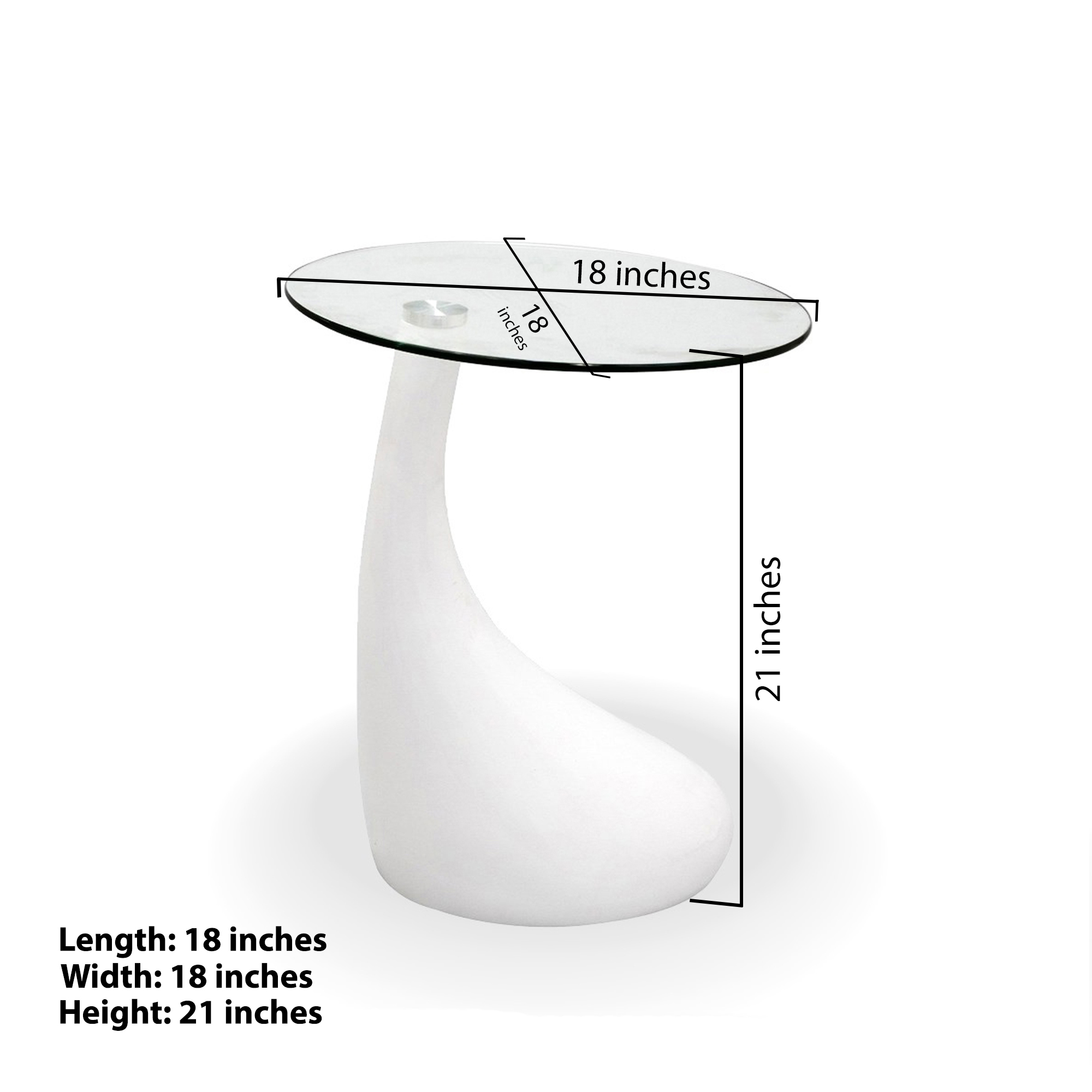 Fab Glass And Mirror TearDrop Side Table With
