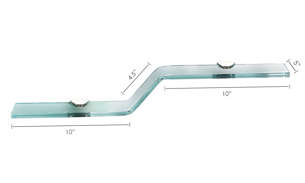 Fab Glass And Mirror Wave Style Bent Glass Shelf With