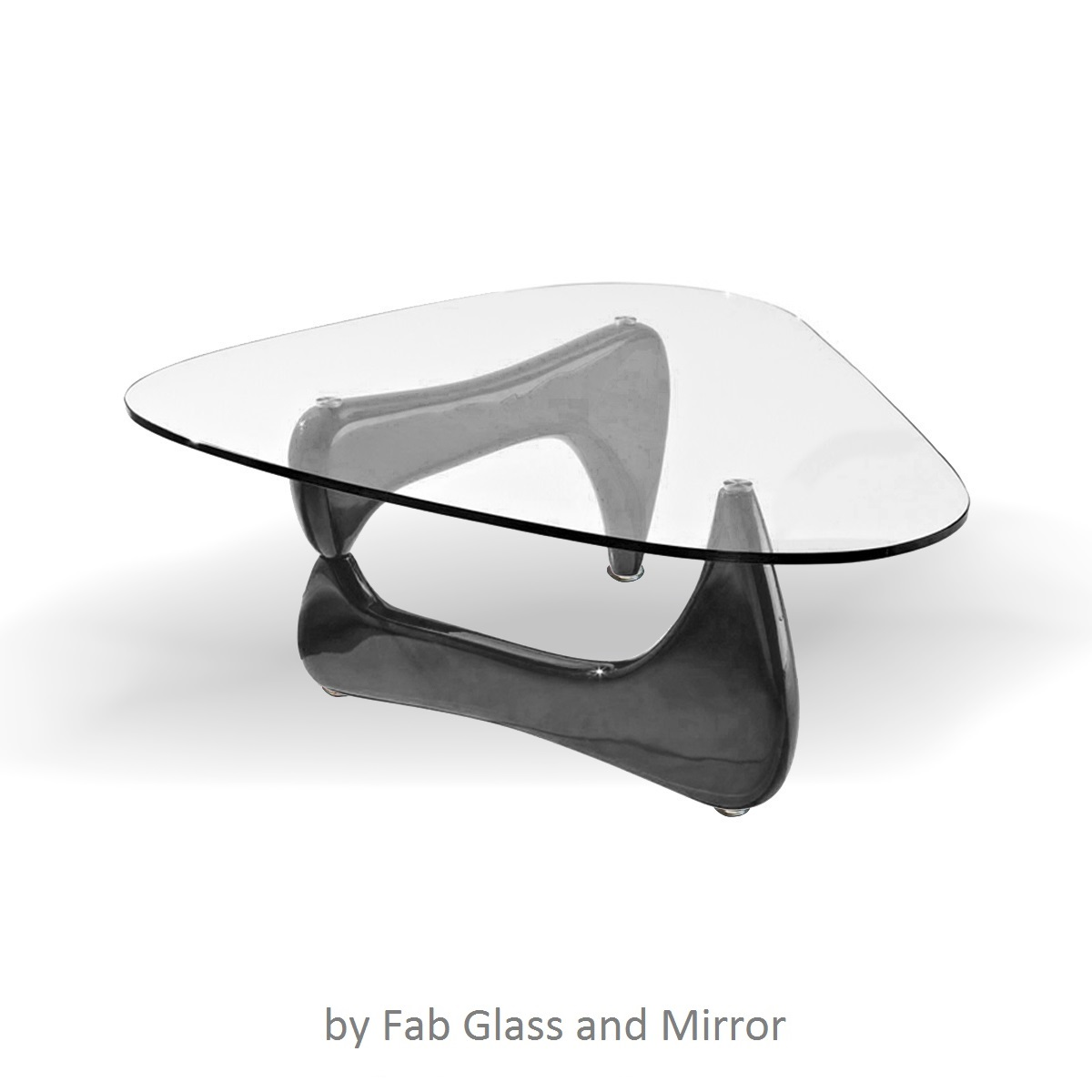 Fab Glass and Mirror Noguchi Style Coffee Table with Clear Glass
