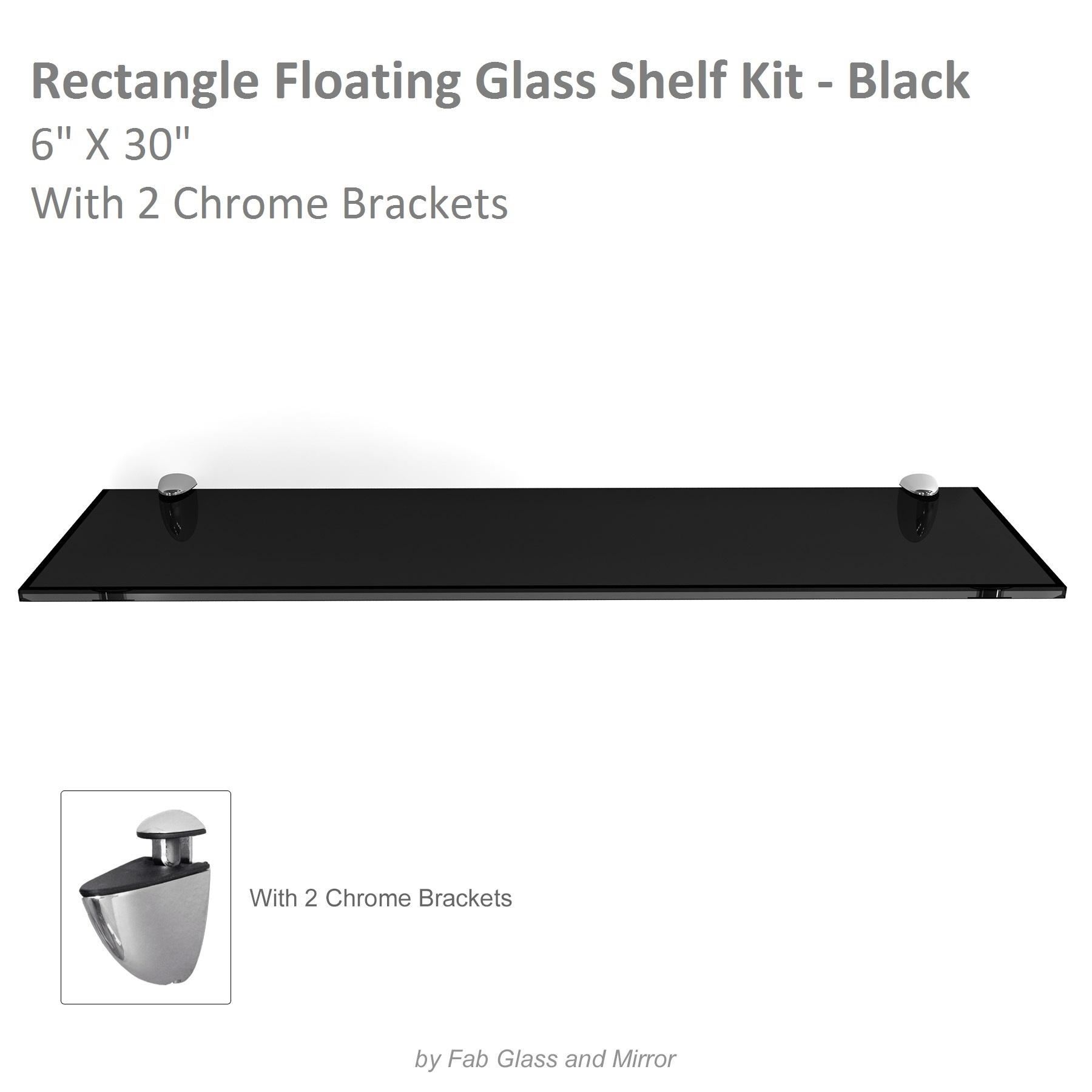 fab glass and mirror rectangle floating black glass shelf kit w brackets ebay. Black Bedroom Furniture Sets. Home Design Ideas