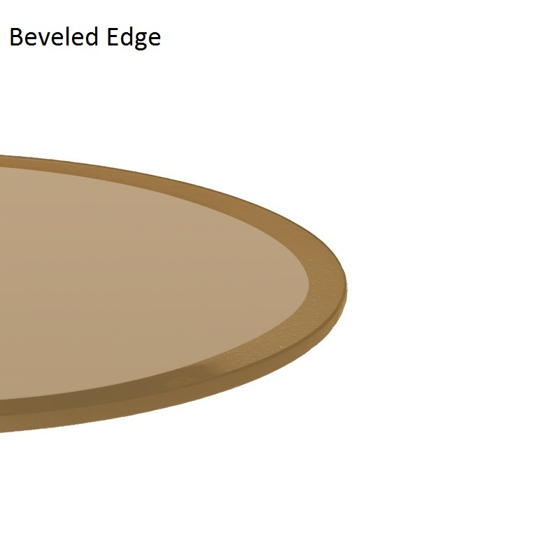 fab glass and mirror bronze beveled round glass table top