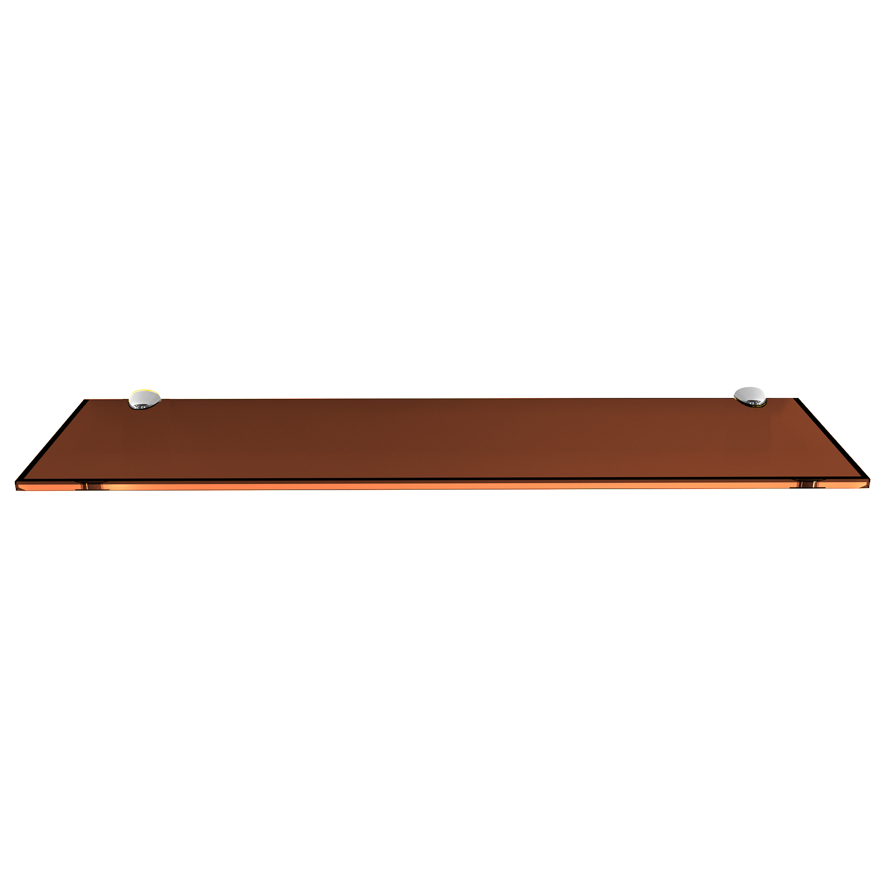 Bronze Rectangle Floating Glass Shelf with Brackets