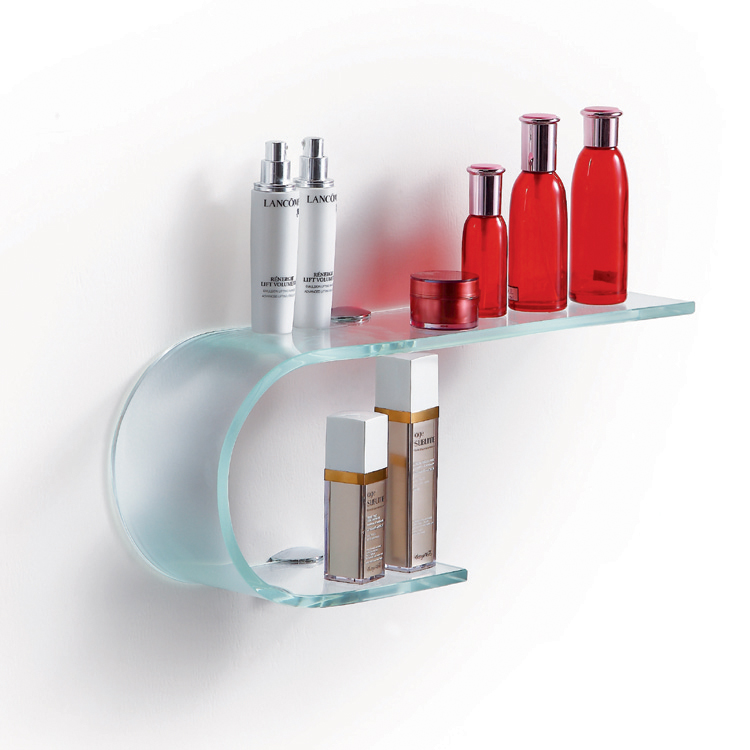 Fab Glass and Mirror Stylish Bathroom Bent Glass Shelf with Chrome ...
