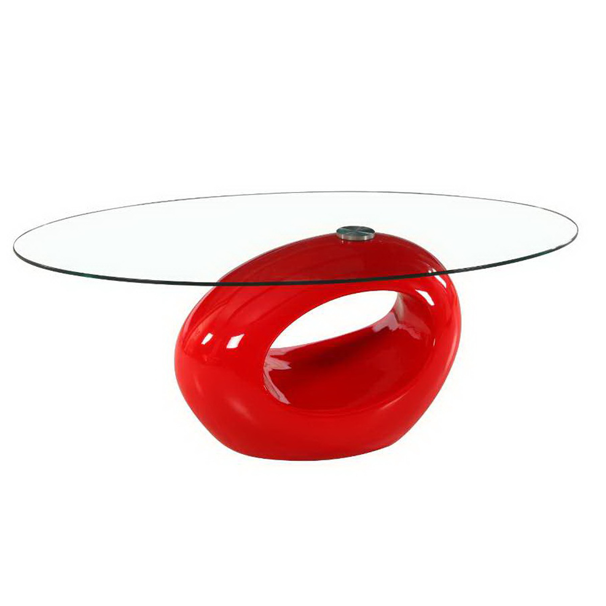 Contemporary High Glossy Base Oval Glass Coffee Table