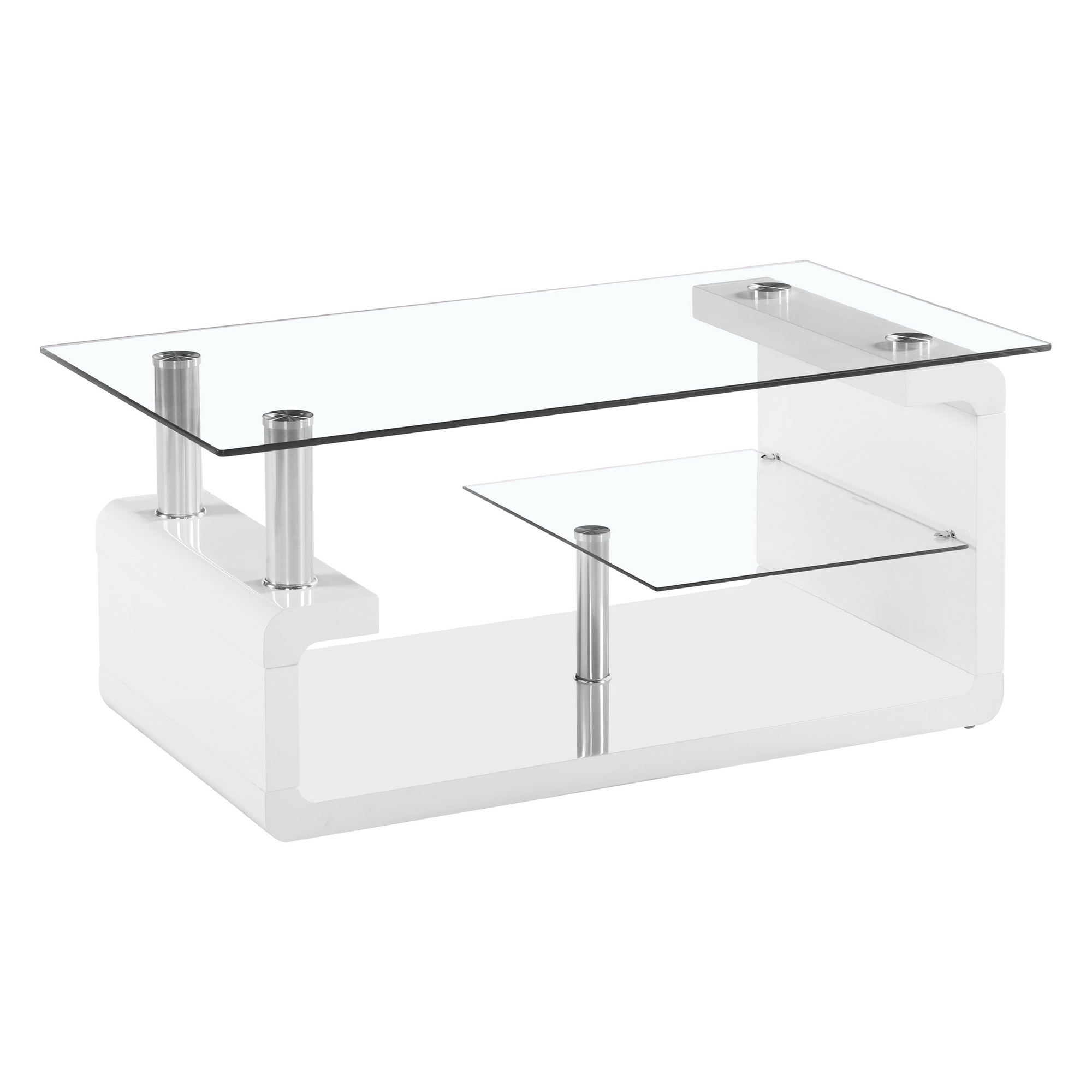 Elegant Two Tier Glass Coffee Table with High Glossy Base