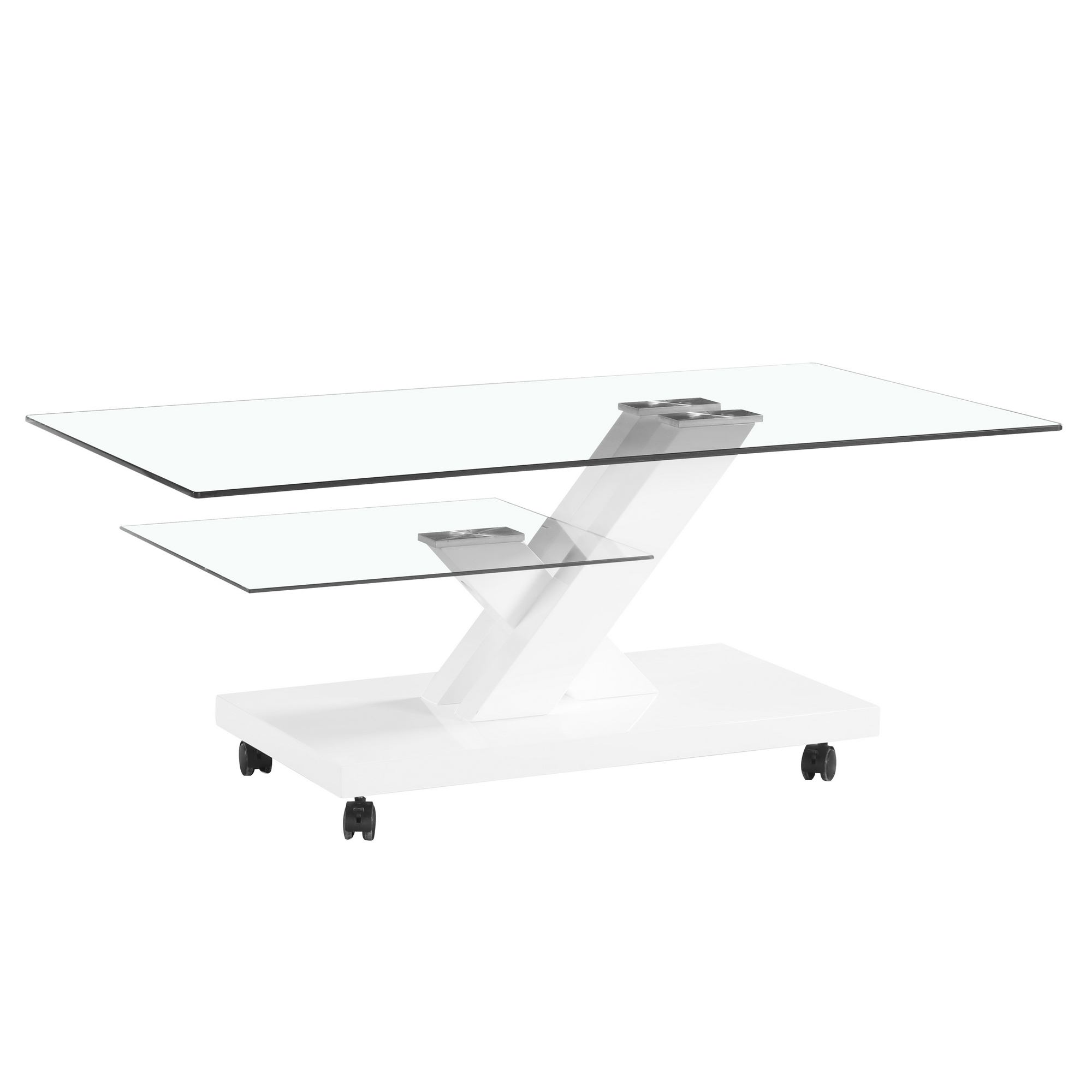 Contemporary Two Tier Glass Coffee Table W High Glossy Base