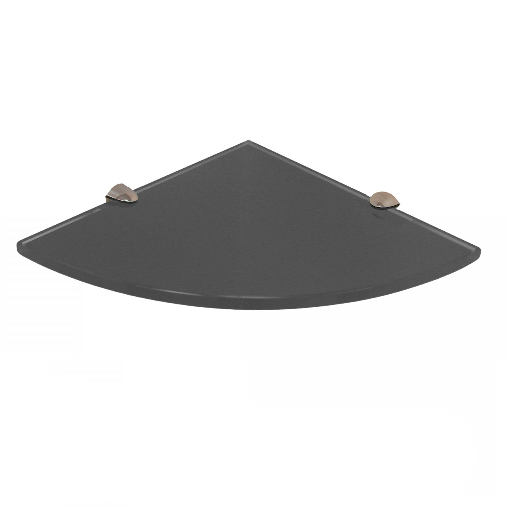 fab glass and mirror quarter circle corner floating grey glass shelf w brackets ebay. Black Bedroom Furniture Sets. Home Design Ideas