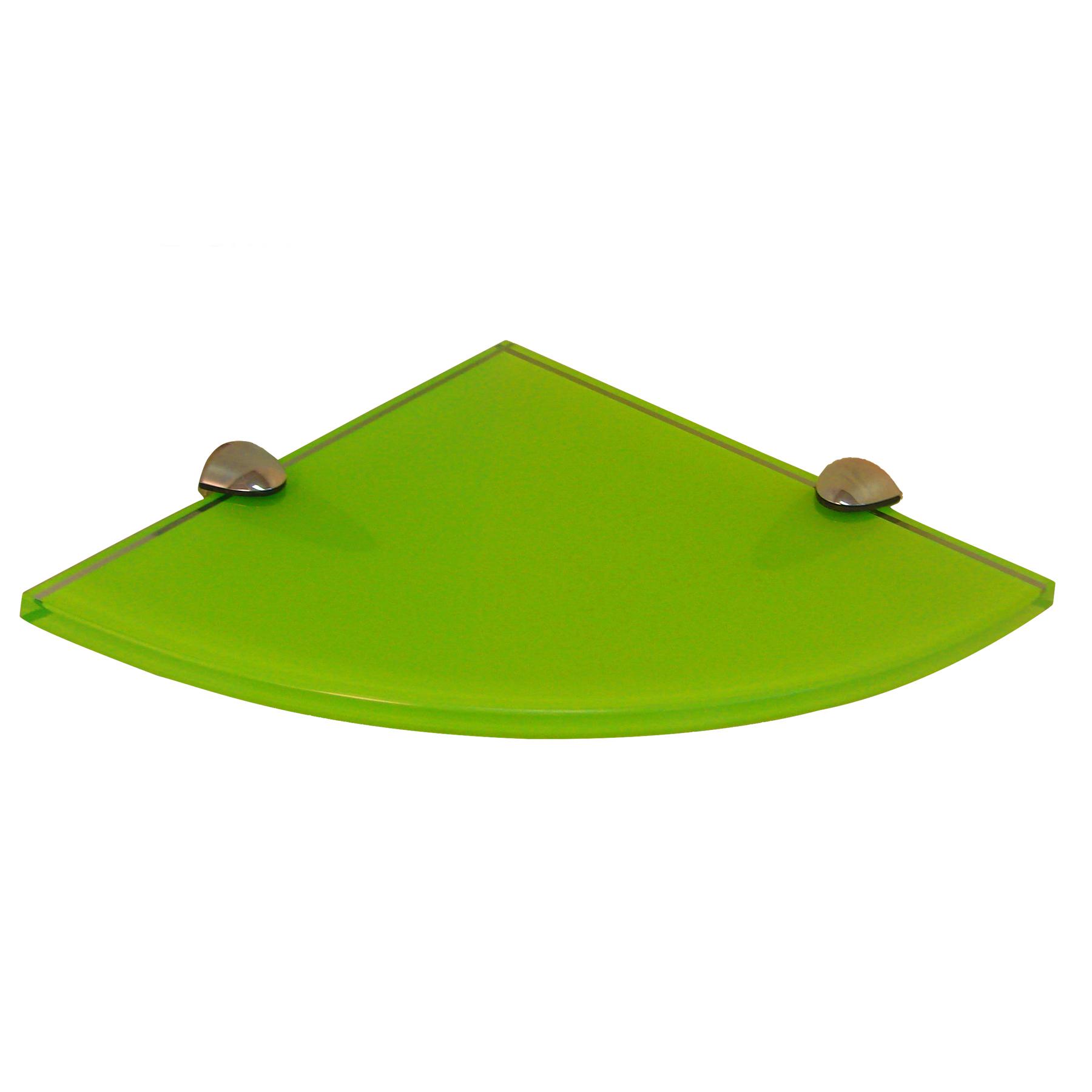fab glass and mirror quarter circle corner floating green glass shelf w bracket ebay. Black Bedroom Furniture Sets. Home Design Ideas