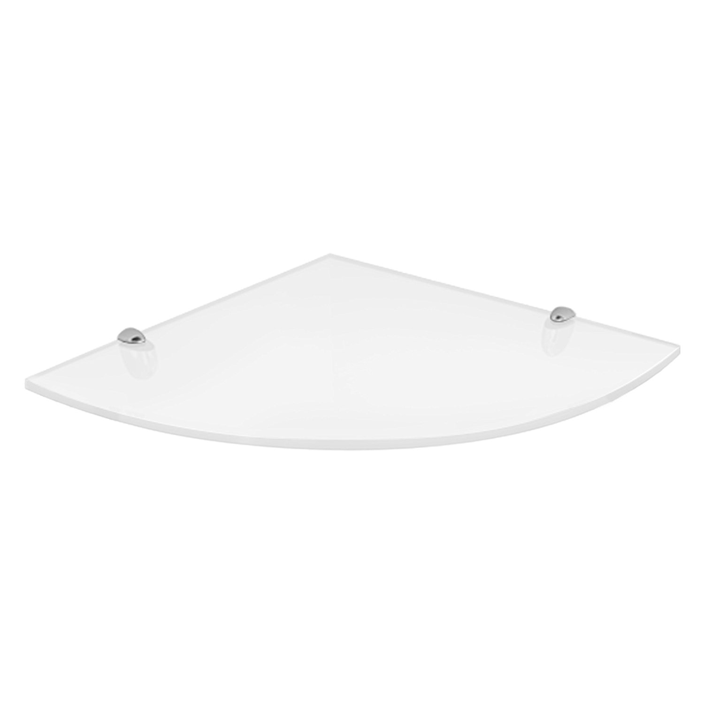 fab glass and mirror quarter circle corner floating white glass shelf w bracket ebay. Black Bedroom Furniture Sets. Home Design Ideas