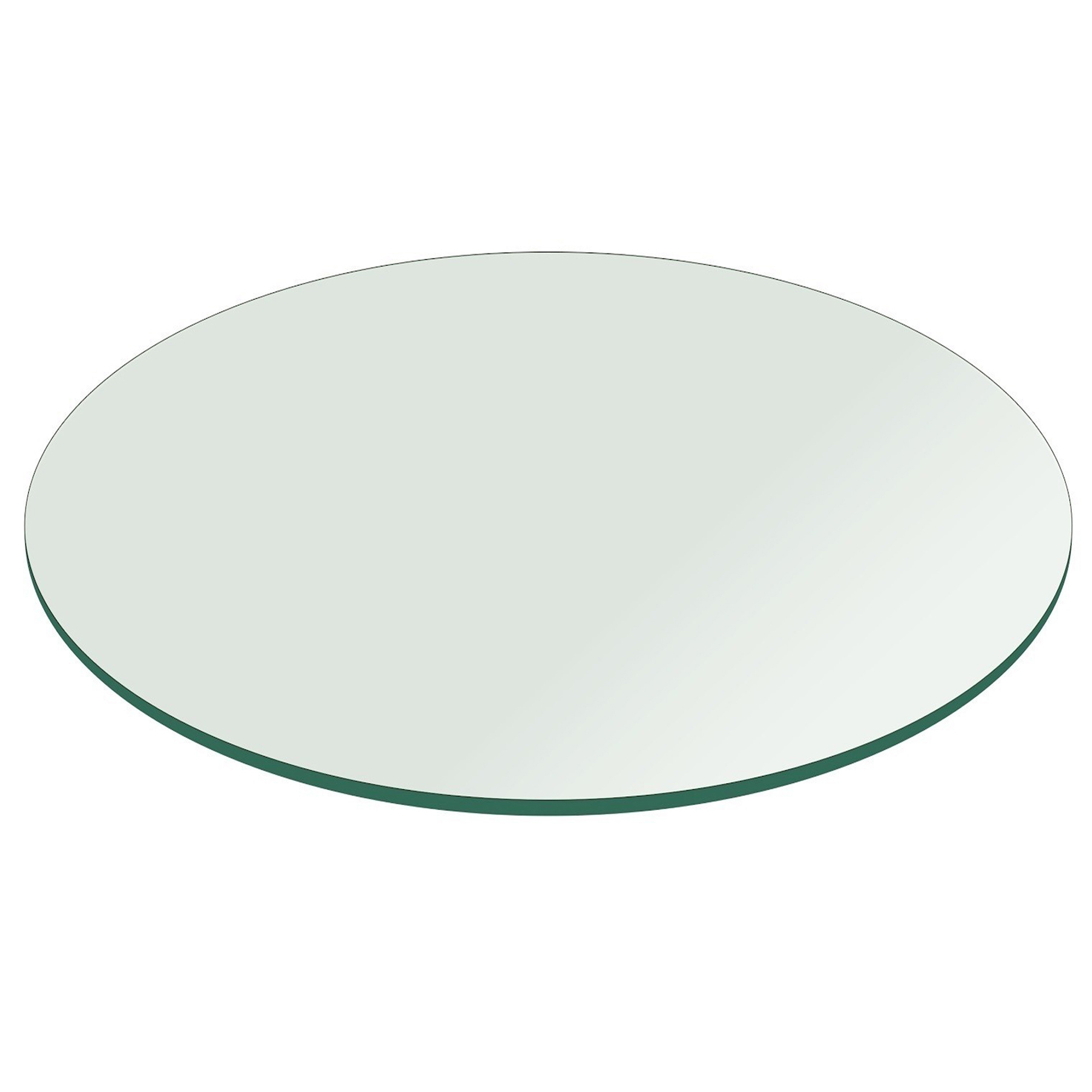 Fab Glass And Mirror Round Clear Glass Table Top With Flat