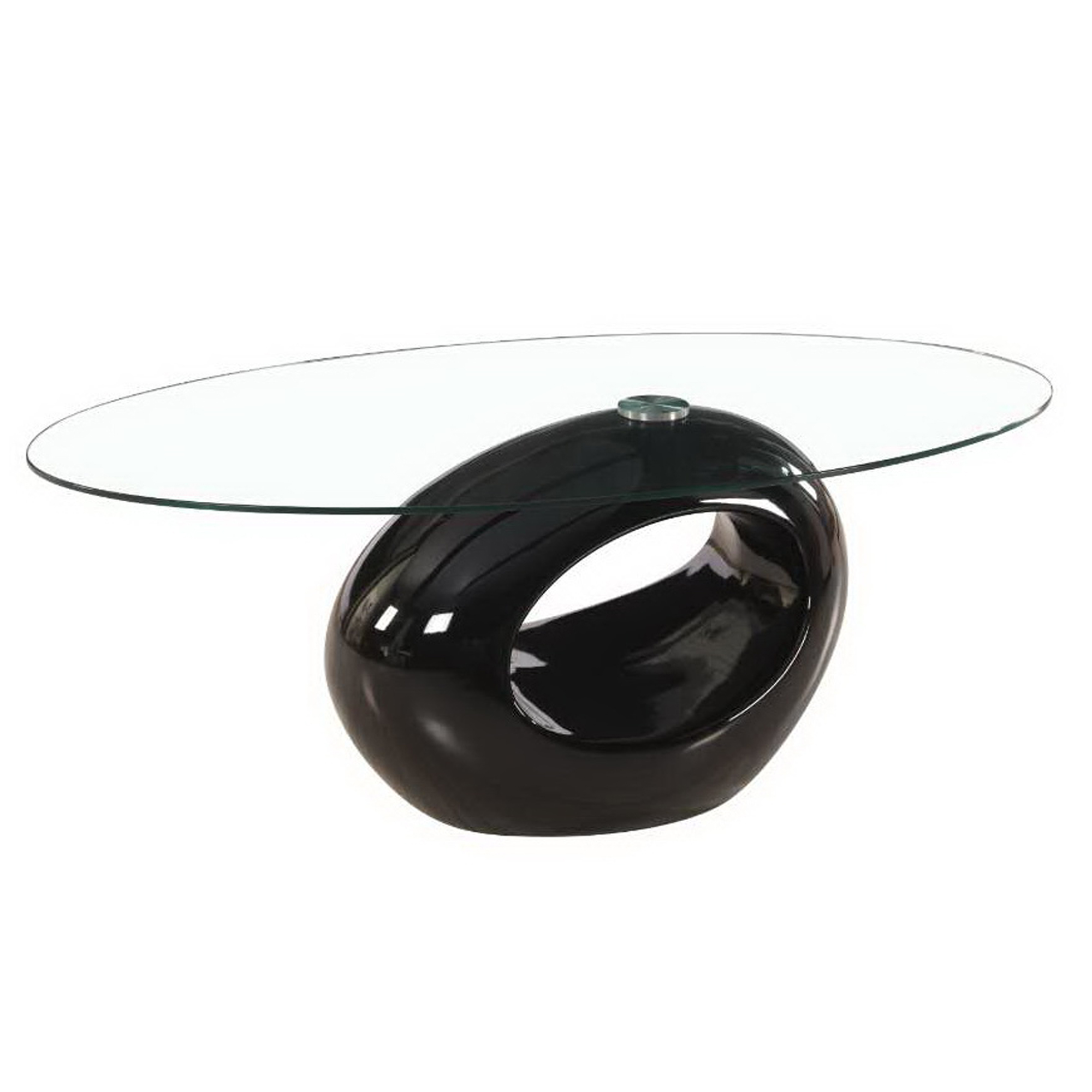 Contemporary High Glossy Base Oval Glass Coffee Table By Fab Glass - Glossy black coffee table
