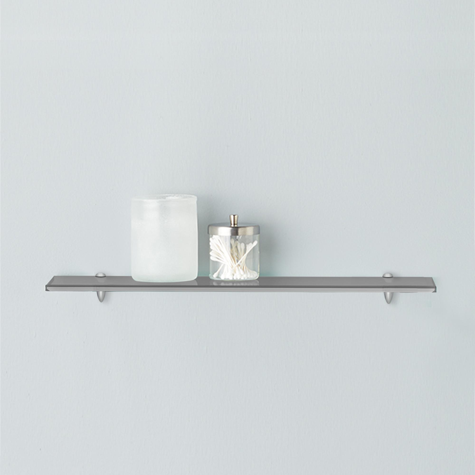 fab glass and mirror rectangle floating grey glass shelf kit w chrome brackets ebay. Black Bedroom Furniture Sets. Home Design Ideas