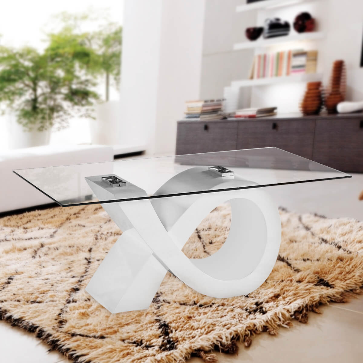 Fab Glass and Mirror Stylish Alpha Glass Coffee Table w/ white High ...