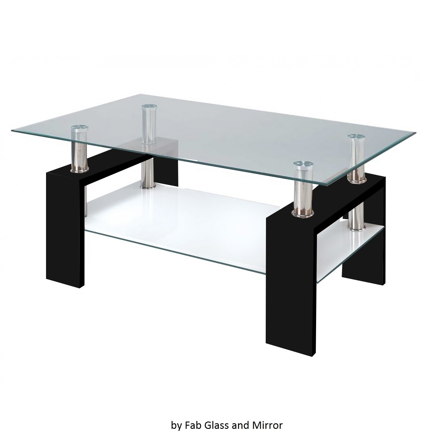 Fab Glass And Mirror Modern Glass Coffee Table W/ Shelf