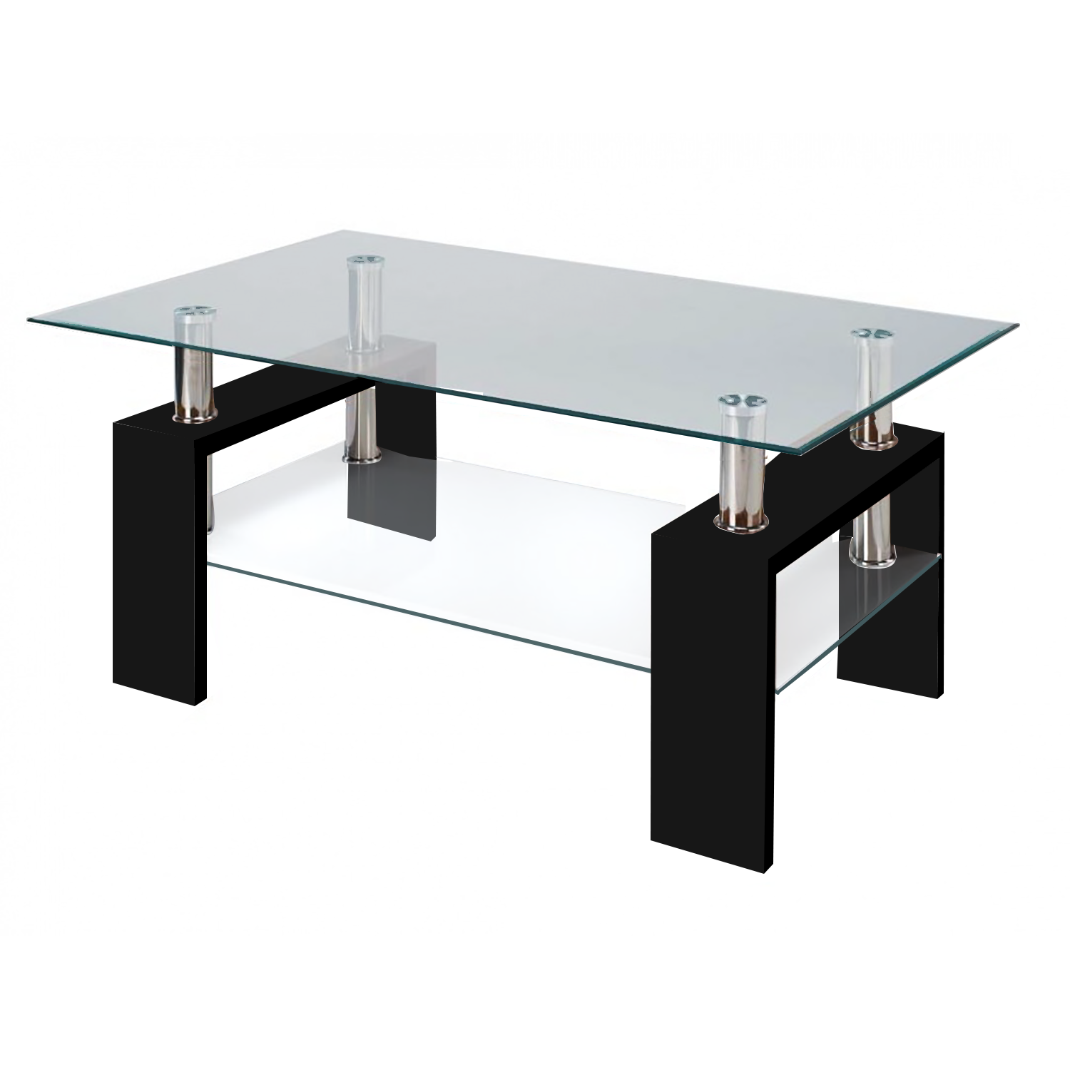 Modern glass black coffee table with shelf contemporary geotapseo Choice Image