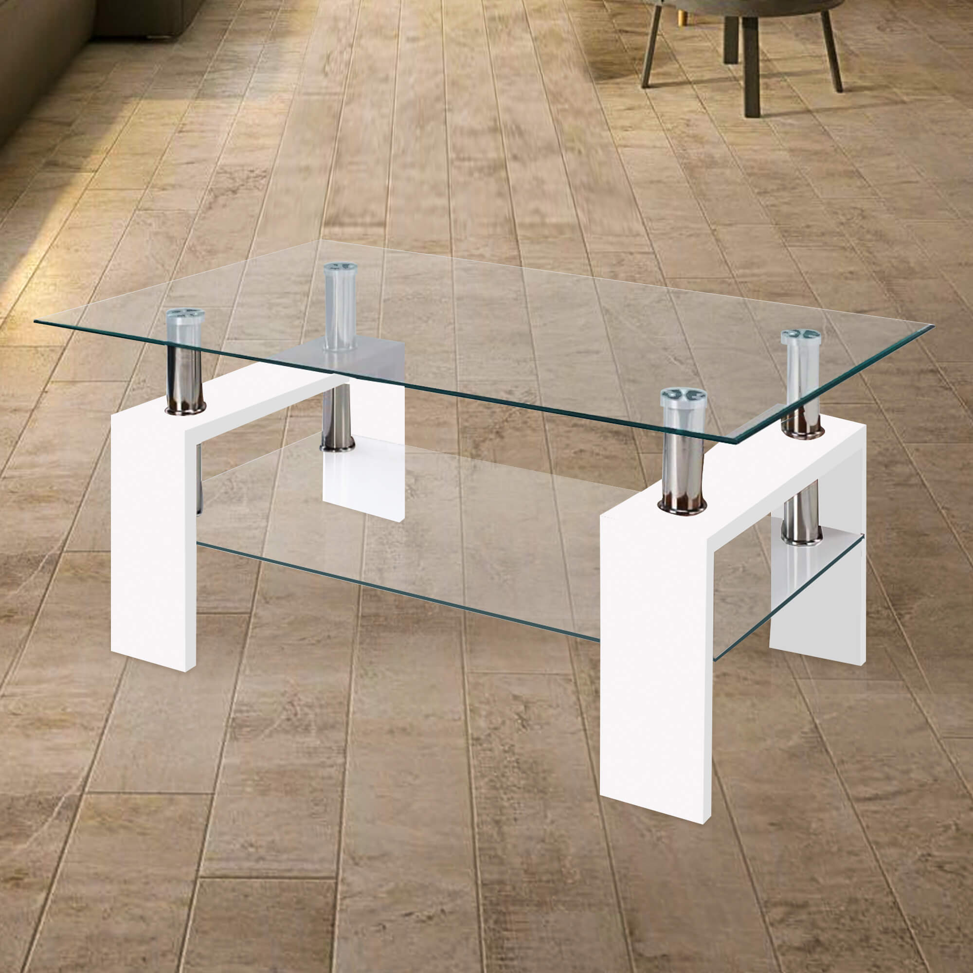 Fab Glass And Mirror Modern Glass Coffee Table W Shelf Contemporary