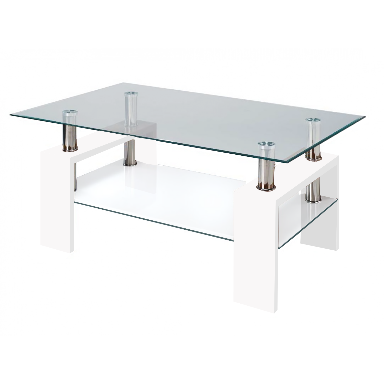Modern Glass White Coffee Table with Shelf Contemporary
