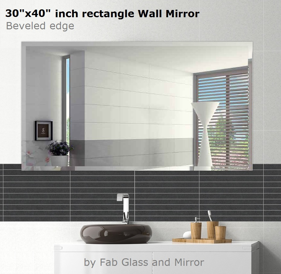 Mrec30x40be6mm Fab Glass And Mirror Rectangle Beveled Polish