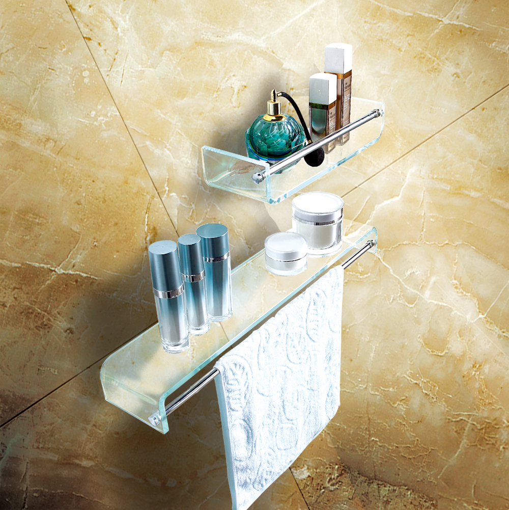 Fab Glass And Mirror Stylish Bathroom Glass Shelf With Chrome Towel